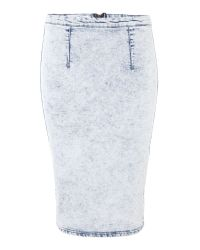 Glamorous | Blue Acid Wash Denim Midi Skirt | Lyst
