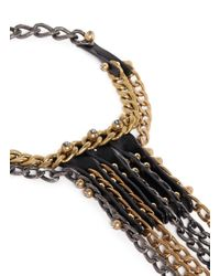 Lanvin - Metallic Leather Strap And Crystal Nutbolt Fringe Chain Necklace - Lyst