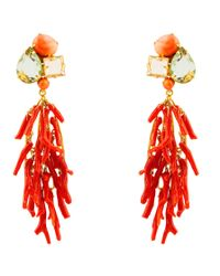 Bounkit | Orange Citrine, Flourite, And Coral Branch Earrings | Lyst