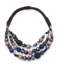 Peserico - Blue Beaded Necklace - Lyst