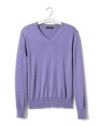 Banana Republic | Purple Silk Cotton Cashmere Vee for Men | Lyst