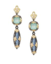 Armenta - Blue Old World Kyanite, Green Turquoise, Diamond, Oxidized Sterling Silver & 18k Yellow Gold Drop Earrings - Lyst