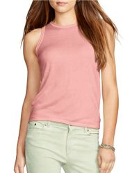 Lauren by Ralph Lauren - Pink Silk-blend Sleeveless Sweater - Lyst
