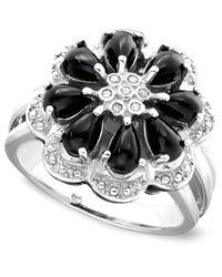 Macy's | Gray Onyx And Diamond Accent Flower Ring In Sterling Silver | Lyst