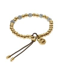 Michael Kors | Metallic Goldtone Beaded Stretch Bracelet | Lyst