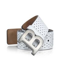 Bally - White Perforated Leather Belt for Men - Lyst