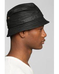 Zanerobe - Black Leather Bucket Hat for Men - Lyst