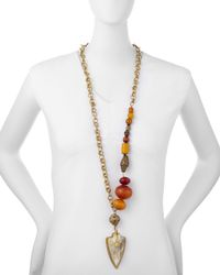 Ashley Pittman | Metallic Amber & Bronze Statement Necklace W/ Shield Pendant | Lyst