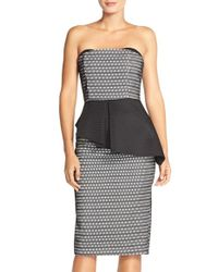 Elliatt - Black 'departure' Peplum Fused Mesh Sheath Dress - Lyst