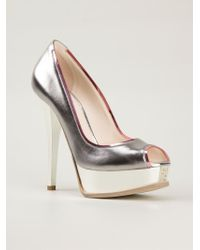 Fendi - Metallic Peep-toe Pumps - Lyst