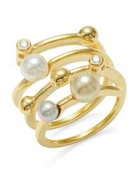 Majorica | Metallic 4mm White And Champagne Pearl And Cubic Zirconia Ring | Lyst
