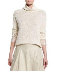 Brunello Cucinelli - White Knit Lace-cuff Turtleneck Sweater - Lyst