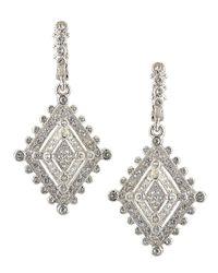 Judith Ripka - Metallic Medium Deco Estate White Sapphire Dangle Earrings - Lyst