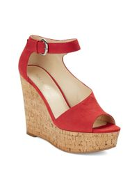 Nine West | Red Adyssinian Wedge Sandals | Lyst