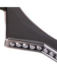 Lynn Ban | Black Diamond & Rhodium Handcuff Bangle | Lyst