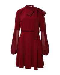 Giamba | Red Stretch Cady Bow Neck Dress | Lyst