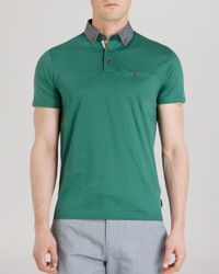 Ted Baker | Green Hazdeb Printed Collar Relaxed Fit Polo Shirt for Men | Lyst