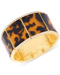 Guess | Metallic Gold-tone Stretch Bracelet With Clear Crystal Accents And Leopard Epoxy | Lyst