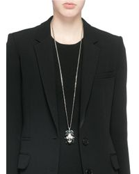 Alexander McQueen - Green Royal Skull Pendant Necklace - Lyst
