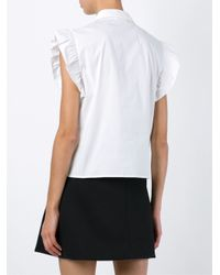 RED Valentino - White Frill Trim Sleeveless Shirt - Lyst