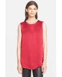 VINCE | Red High/low Tank | Lyst