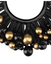 Monies - Black Ebony Wood Leather and Gold Foil Choker - Lyst