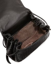 Bottega Veneta - Black Intrecciato Small Flap Messenger Bag - Lyst