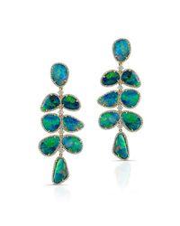Anne Sisteron | Green 14kt Yellow Gold Opal Diamond Drop Earrings | Lyst