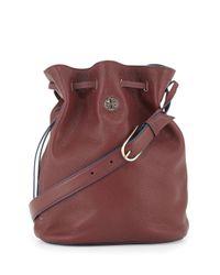 Tory Burch - Purple Brodie Pebbled Leather Bucket Bag - Lyst