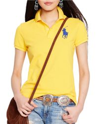 Polo Ralph Lauren | Yellow Skinny-fit Big Pony Polo Shirt | Lyst