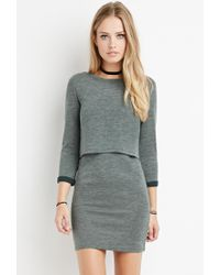 Forever 21 | Green Layered Vented-back Dress | Lyst