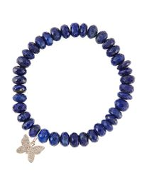 Sydney Evan | Metallic 8Mm Faceted Lapis Beaded Bracelet With 14K Gold/Diamond Small Butterfly Charm (Made To Order) | Lyst