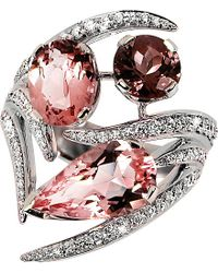 Shaun Leane | Aurora 18ct White-gold, Diamond, Pink Tourmaline And Morganite Ring | Lyst