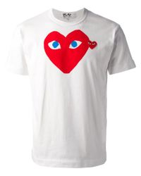 Play Comme des Garçons | White Printed Heart T-Shirt for Men | Lyst