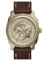 Fossil - Brown 'machine' Chronograph Leather Strap Watch for Men - Lyst