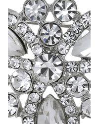 Oasis - White Crystal Snowflake Brooch - Lyst