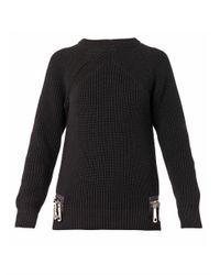 Christopher Kane - Black Double-Zip Cotton-Knit Sweater - Lyst