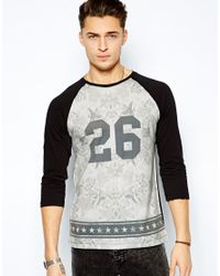 ASOS | Gray Three Quarter Sleeve T-Shirt with Floral Number Print for Men | Lyst