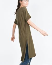 Zara | Natural Long T-shirt With Slits | Lyst