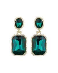 Mikey | Green Rectangle Stone Marquise Drop Earring | Lyst
