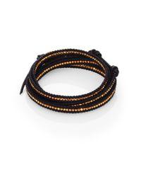 Chan Luu - Black Beaded Leather Multi-Row Wrap Bracelet - Lyst
