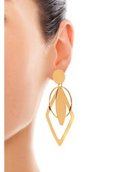 Stella McCartney | Metallic Geometric Drop Clip-On Earrings | Lyst