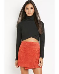 Forever 21 - Black Contemporary Wrap Turtleneck Crop Top - Lyst