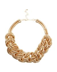 River Island | Metallic Gold Tone Mega Plait Necklace | Lyst