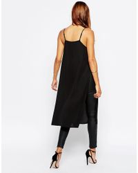 ASOS | Black Longline High Neck Cami Top With Side Splits | Lyst