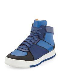 Bally - Blue Atsumori Textured Hightop Sneaker for Men - Lyst