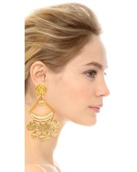 Kenneth Jay Lane | Metallic Statement Clip On Earrings - Gold | Lyst