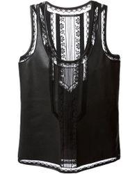 Ermanno Scervino | Black Lace Panels Tank | Lyst