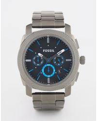 Fossil | Gray Machine Watch In Stainless Steel - Silver for Men | Lyst