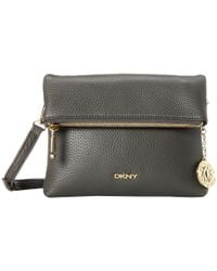 DKNY - Gray Tribeca Soft Tumbled Zip Flap Xbody - Lyst